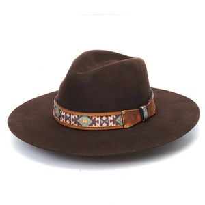 Brown Rancher Hat with Aztec Print Band
